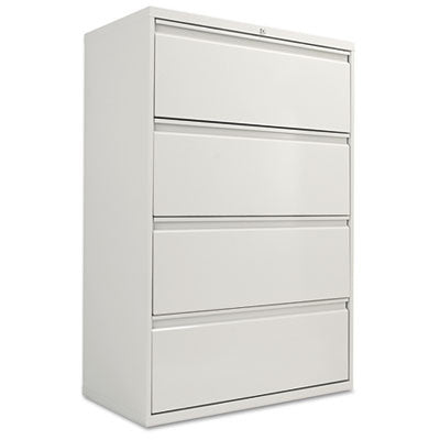 Four-Drawer Lateral File Cabinet, 36w x 19-1/4d x 54h, Light Gray