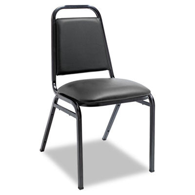 Upholstered Stacking Chairs w/Square Back, Black Vinyl, Black Frame