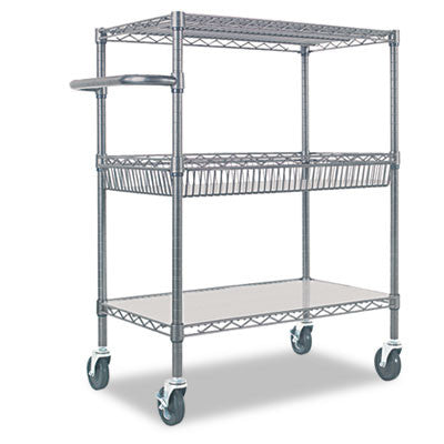 Three-Tier Wire Rolling Cart, 34w x 18d x 40h, Black Anthracite