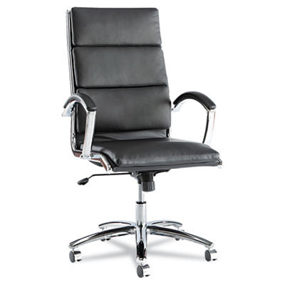 Neratoli High-Back Swivel/Tilt Chair, Black Soft-Touch Leather, Chrome Frame