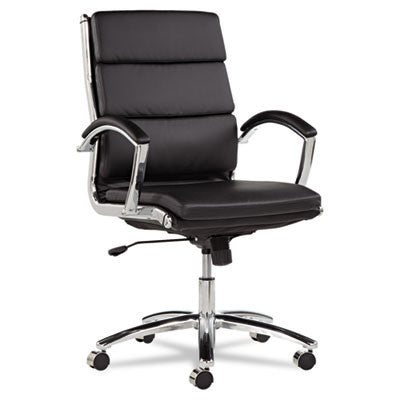 Neratoli Mid-Back Swivel/Tilt Chair, Black Soft-Touch Leather, Chrome Frame