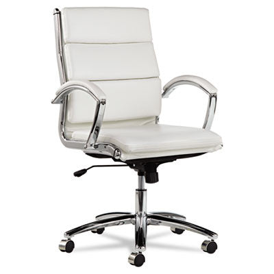 Neratoli Mid-Back Swivel/Tilt Chair, White Faux Leather, Chrome Frame