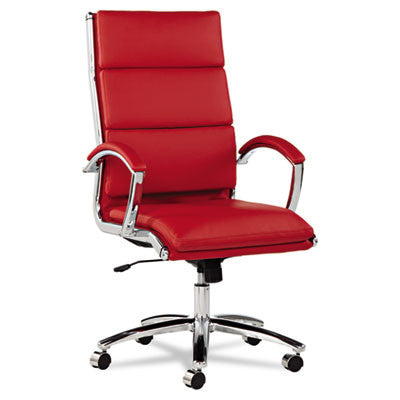 Neratoli High-Back Swivel/Tilt Chair, Red Soft-Touch Leather, Chrome Frame