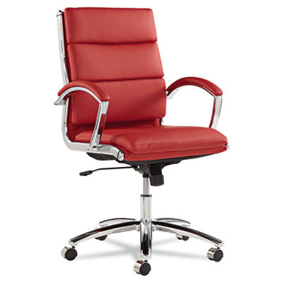 Neratoli Mid-Back Swivel/Tilt Chair, Red Soft-Touch Leather, Chrome Frame