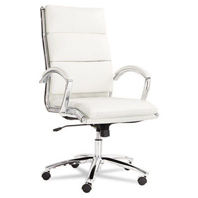Neratoli High-Back Swivel/Tilt Chair, White Faux Leather, Chrome Frame