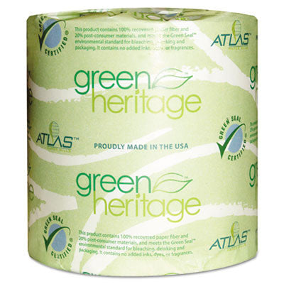 Green Heritage Toilet Tissue, 4 1/10 x 3 1/10 Sheets, 2Ply, 500 Sheets/Roll