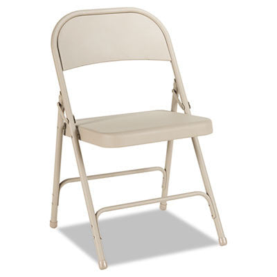 Steel Folding Chair, Tan, 4/Carton