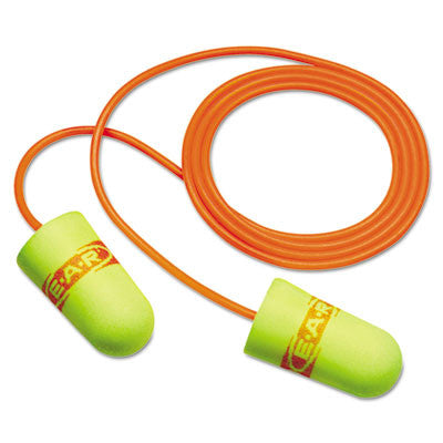 E·A·Rsoft SuperFit Single-Use Earplugs, Corded, 33NRR, Yellow/Red