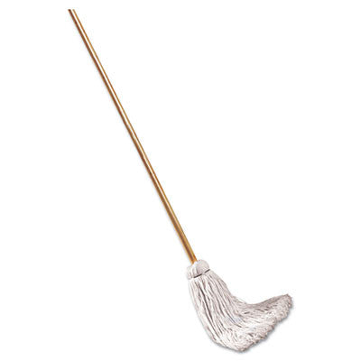 Deck Mop w/48 in. Wooden Handle, 12-oz. Cotton Fiber Head