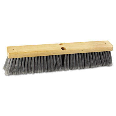 "Floor Brush Head, 18"" Head, Flagged Polypropylene Bristles"