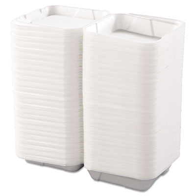 Snap-it Hinged Carryout Containers, Foam, 1-Compartment, 9-1/4x9-1/4x3, White