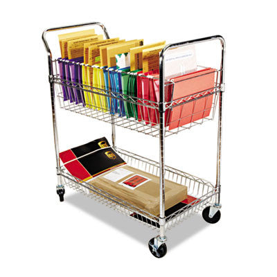 Wire Mail Cart, 2-Shelf, 34-1/4w x 21-1/2d x 39-1/2h, Chrome