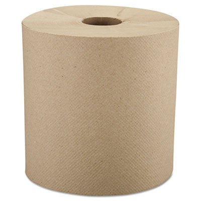 "Nonperforated Roll Towels, 8"" x 800ft, Brown"
