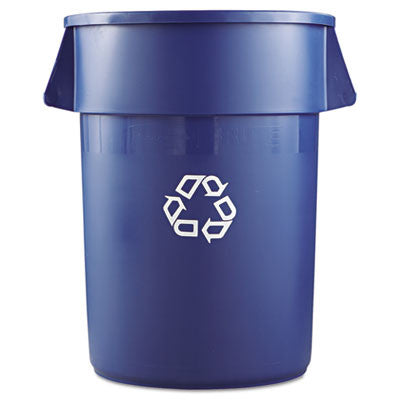 Brute Recycling Container, Round, 44 gal, Blue