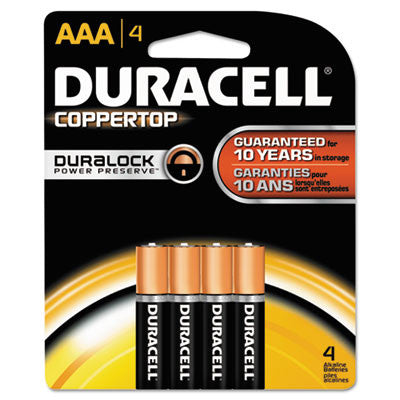 Coppertop Alkaline Batteries, AAA, 4/Pack
