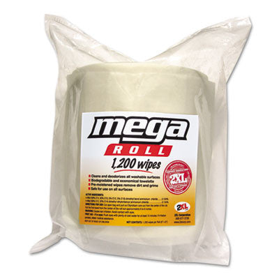Mega Roll Wipes Refill, 8 x 8, White, 1200/Roll