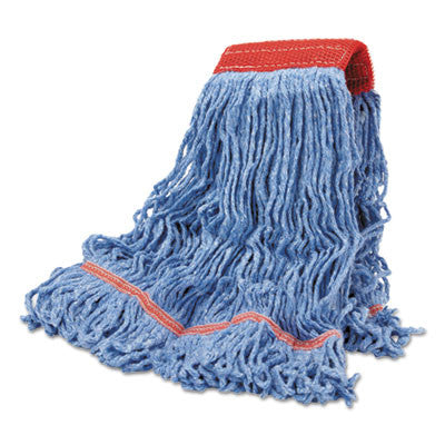 Cotton Mop Heads, Cotton/Synthetic Blend, Large, Looped End, Wideband, Blue