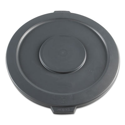 Lids for 32-Gal Waste Receptacle, Flat-Top, Round, Plastic, Gray