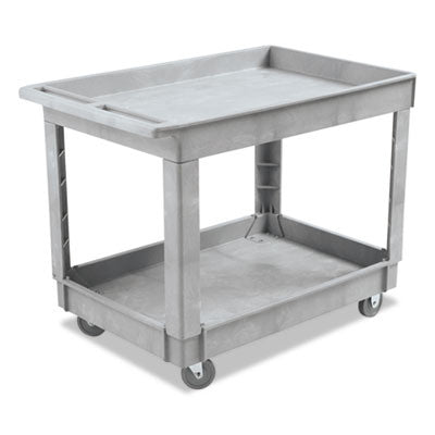 "Two-Shelf Utility Cart, Plastic Resin, Gray, 40"" x 24"""