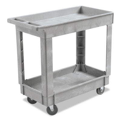 Two-Shelf Utility Cart, 34 x 16, Gray, Swivel Casters, Resin