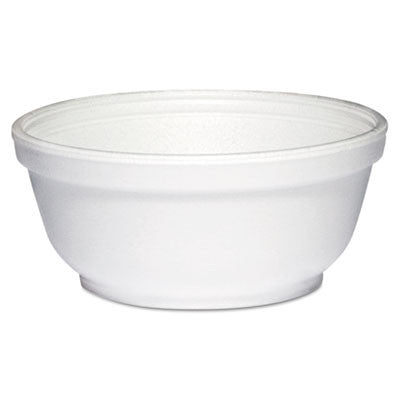 Foam Bowls, 8 Ounces, White, Round, 50/Pack