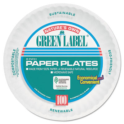Uncoated Paper Plates, 6 Inches, White, Round