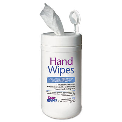 Alcohol Free Hand Sanitizing Wipes, 7 x 8, White