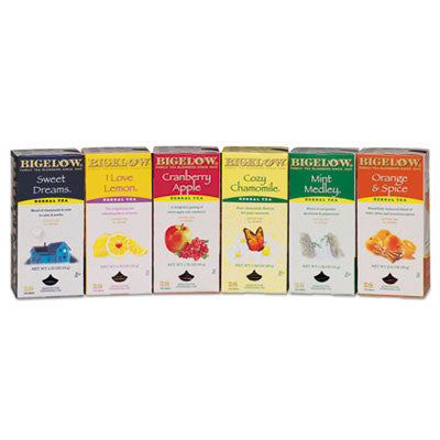 Assorted Herbal Tea Packs, Six Flavors, 28 Bags Of Each Flavor