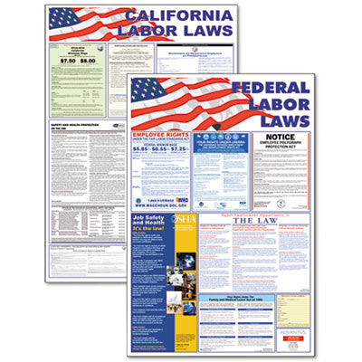 State/Federal Labor Law Legally Required Multi-Colored Poster, 24 x 30