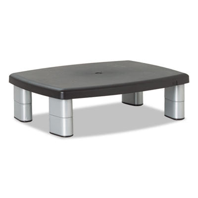 Adjustable Height Monitor Stand, 12 x 15 x 1-5 7/8, Black/Silver