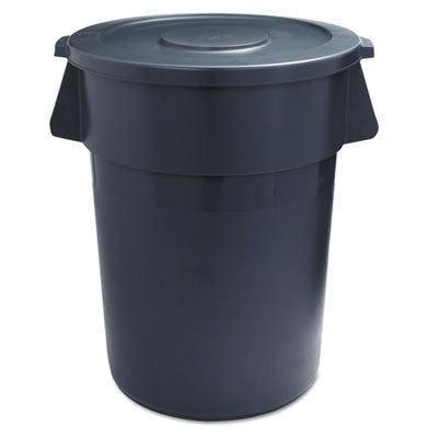 Lids for 44-Gal Waste Receptacles, Flat-Top, Round, Plastic Gray