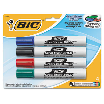 Great Erase Bold Tank-Style Dry Erase Marker, Chisel Tip, Assorted