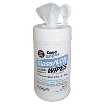 "CareWipes Glass/LCD/Touchscreen Wipes, 7"" x 8"", Cloth, White, Premoistened"