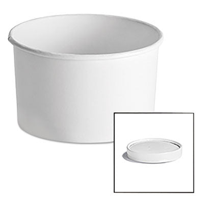 Paper Food Container with Vented Lid Combo 16 oz, Polycoated, White