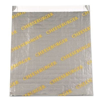 "Foil/Paper/Honeycomb Insuldated Bag ""Cheeseburger"", 6"" x 6 1/2"", Gray, Yellow"