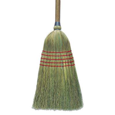 "Corn Broom, 56"", Lacquered Wood Handle, Natural"