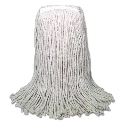 Banded Mop Head, Cotton, Cut-End, White, 16 oz