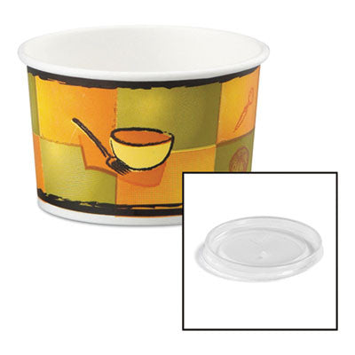 Streetside Paper Food Container with Plastic Lid, Streetside Design, 8-10 oz