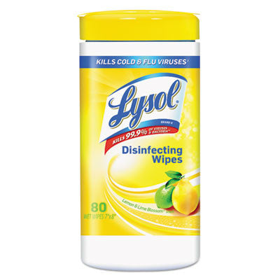 Disinfecting Wipes, Lemon & Lime Blossom, White, 7 x 8