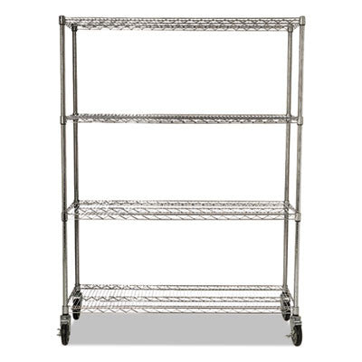 ProSave Shelf Ingredient Bin Cart, Four-Shelf, 50w x 18d x 67 1/4, Chrome