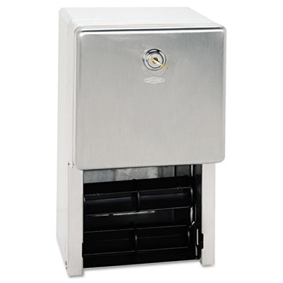 Stainless Steel 2-Roll Tissue Dispenser, 6 1/4 x 6 x 11, Stainless Steel