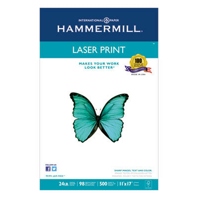 Laser Print Office Paper, 98 Brightness, 24lb, 11 x 17, White, 500 Sheets/Ream