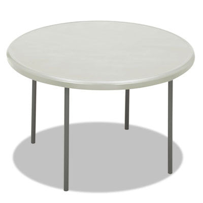 IndestrucTable TOO 1200 Series Resin Folding Table, 48 dia x 29h, Platinum