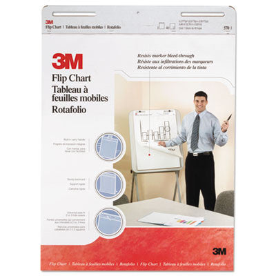 Professional Flip Chart Pad, Unruled, 25 x 30, White, 40 Sheets/Pad, 2/Carton