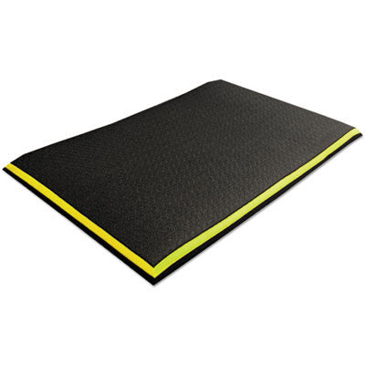 Alleviator Anti-Fatigue Mat with Border, Zedlan, 24 x 36, Black/Yellow