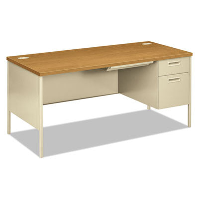 Metro Classic Right Pedestal Workstation Desk, 66w x 30d, Harvest/Putty