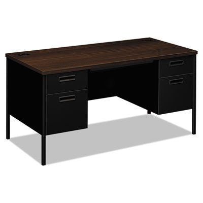 Metro Classic Double Pedestal Desk, 60w x 30d x 29-1/2h, Columbian Walnut/Black
