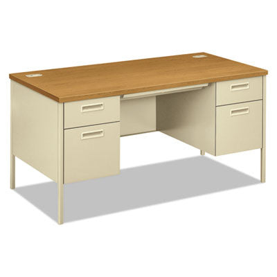 Metro Classic Double Pedestal Desk, 60w x 30d x 29-1/2h, Harvest/Putty