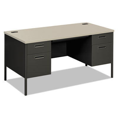 Metro Classic Double Pedestal Desk, 60w x 30d x 29-1/2h, Gray Patterned/Charcoal
