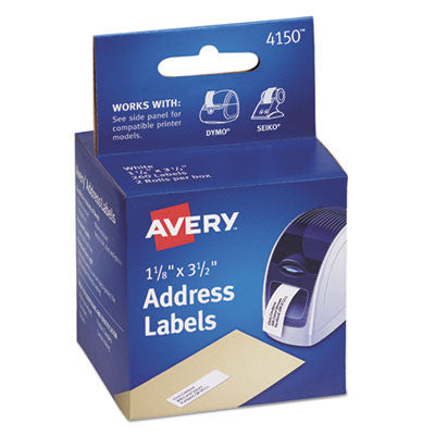 Thermal Printer Labels, Address, 1 1/8 x 3 1/2, White, 260 Labels/Box
